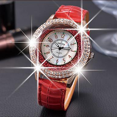 Damen Facettierte Kristalluhren Modeuhr Quartz Armbanduhren für den Alltag Leder Band Elegant Schwarz Weiß Rot Braun
