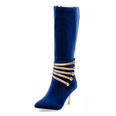 Dame Sko Kunstlær Vinter Trendy støvler Støvler Stiletthæl 30,48 cm-35,56 cm Knehøye støvler Glidelås til Formell Fest/aften Svart Rød Blå