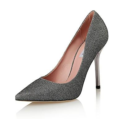 Dame-Glitter / Mikrofiber-Stiletthæl-Hæler / Stiler / Spiss tå-Høye hæler-Bryllup / Formell / Fest/aften-Sølv
