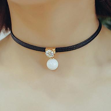 Dame Kort halskæde Halskædevedhæng Perle Læder Mode Justérbar Personaliseret Smykker Til Daglig Afslappet