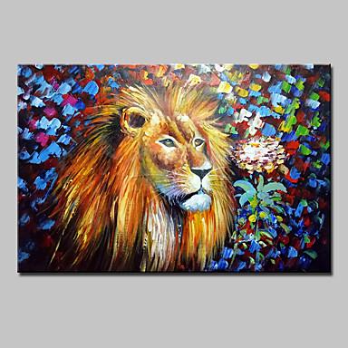 pintado a mano la pintura al óleo abstracta del león animal moderno en el arte de la pared de la lona con el marco estirado listo para colgar