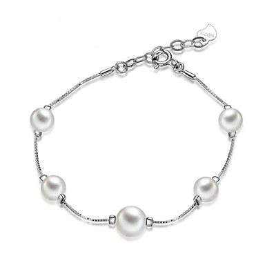S925 Sterling Silver Bracelet 1pcs Personality Pearl Chain Girlfriend Birthday Gift Love Jewelry