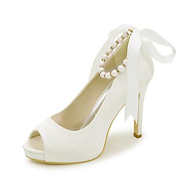 Damen Schuhe Satin Frühling / Sommer Sandalen Stöckelabsatz Imitationsperle Golden / Champagner / Elfenbein / Hochzeit / Kleid