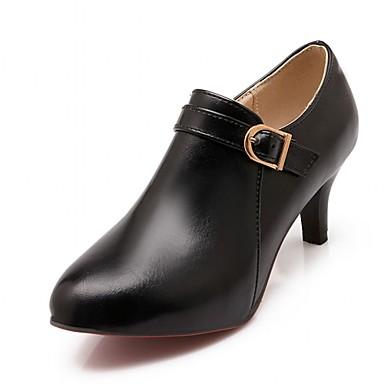 Hæle-Syntetisk laklæder Kunstlæder-Combat-støvler Cowboystøvler Ankelstøvler Ridestøvler Modestøvler Motorcykelstøvler-Dame-Sort Brun-