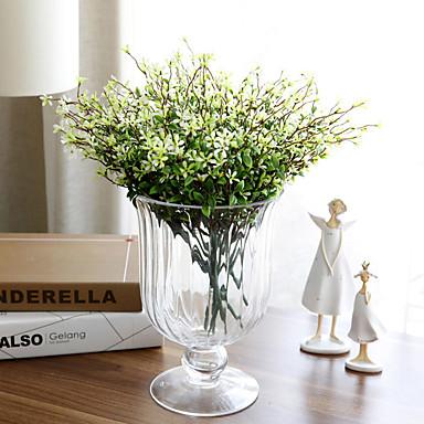 1 Gren Polyester Plastikk Planter Bordblomst Kunstige blomster