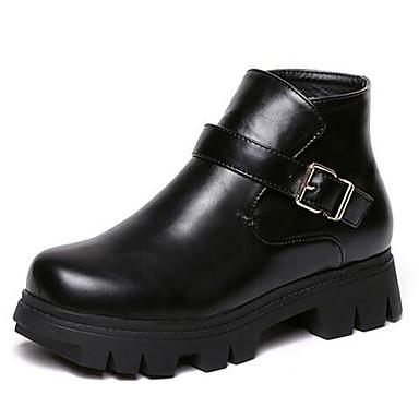 Støvler-Kunstlæder-Ridestøvler-Dame-Sort-Udendørs-Platå Creepers