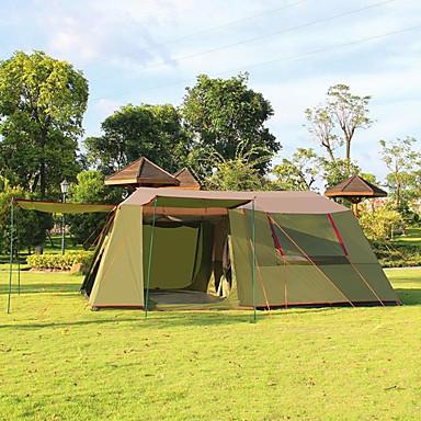 >8 personer Telt Dobbelt camping telt Tre Værelser Familietelt Godt Ventileret Ultraviolet Resistent Regn-sikker Anti-Insekt