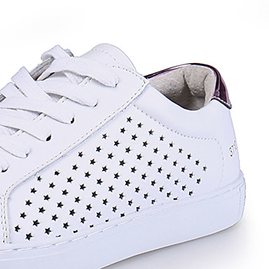 Sneakers-PU-Komfort-Dame-Hvid-Fritid-Kilehæl