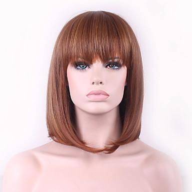 Pelucas sintéticas Ondulado Natural Corte Bob Pelo sintético Marrón Peluca Mujer Sin Tapa