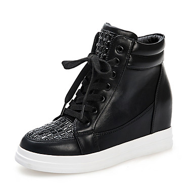 Feminino Sapatos Courino Outono Conforto Tênis Caminhada Rasteiro Gliter com Brilho Para Casual Social Branco Preto