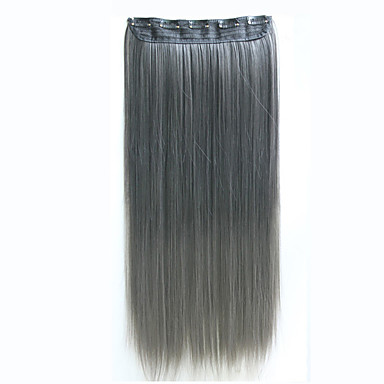 klippet i hair extensions 24inch 60cm 120g 5clips lang rett syntetisk hår klippet i syntetisk hår forlengelse