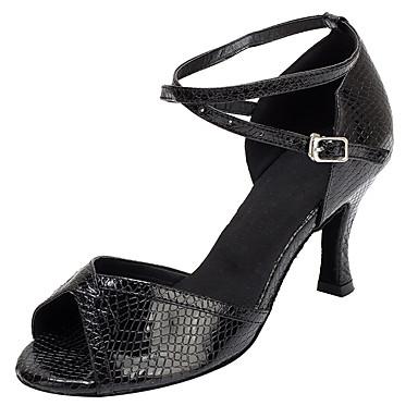 Damer Latin Salsa Velouriseret Læder Sandaler Hæle Professionel Indendørs Spænde Kegleformet hæl Sort 2,5 - 4,5 cm Kan ikke tilpasses