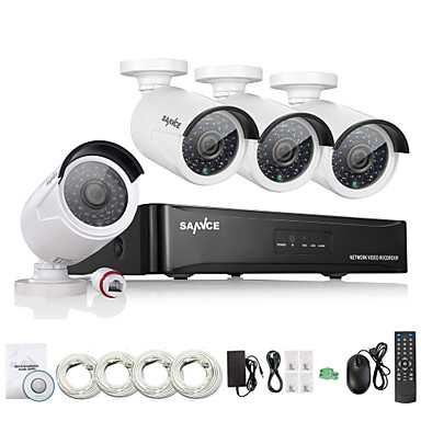 slangence® 4ch hd 1.3 mp 960p nvr poe sicherheit ip-kamera-kit system netzwerk im freien