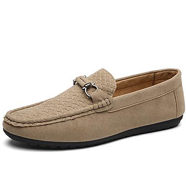 Loafers og Slip-ons-Ruskind Læder-Komfort-Herre-Sort Blå Grå Khaki-Udendørs Kontor Fritid-Flad hæl