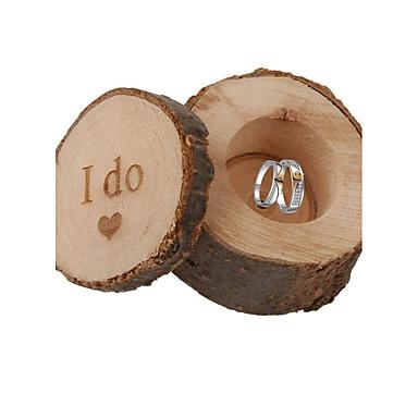 abordables Support de Cadeaux pour Invités-Rond Carré Cylindre Bois Titulaire de Faveur avec Imprimé Boîtes à cadeaux Boîtes Cadeaux - 1