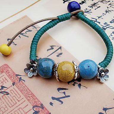 Dame Strand Armbånd Vintage Perler Keramikk Rund Form Smykker Til Daglig Avslappet