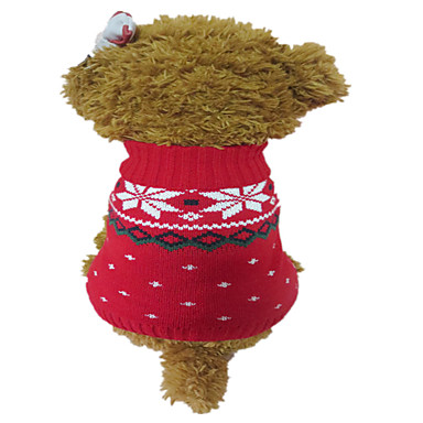 Cães Súeters Roupas para Cães Inverno Floco de Neve Natal Vermelho/Branco Branco / azul