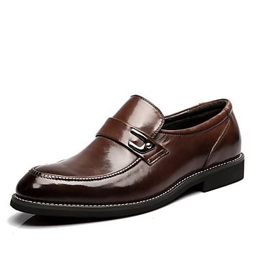 Oxford-kengät-Matala korko-Miehet-Nappanahka Nahka-Musta Ruskea-Toimisto Juhlat Rento-Comfort