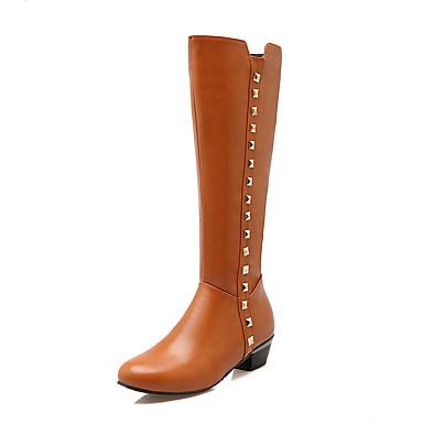 Dame Støvler Komfort Trendy støvler PU Vår Høst Vinter Atletisk Avslappet Tursko Gange Komfort Trendy støvler Nagle Glidelås Tykk hælHvit