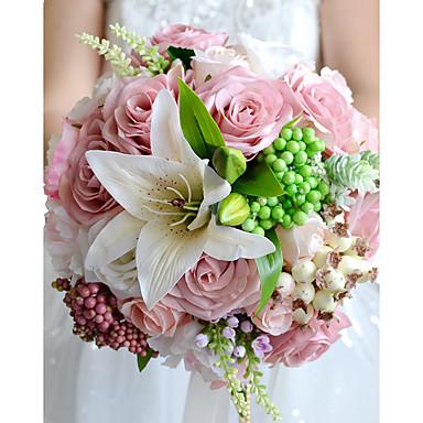 زهور الزفاف باقات زفاف حفل / مساء زهر جاف البوليستر ستان 11.8