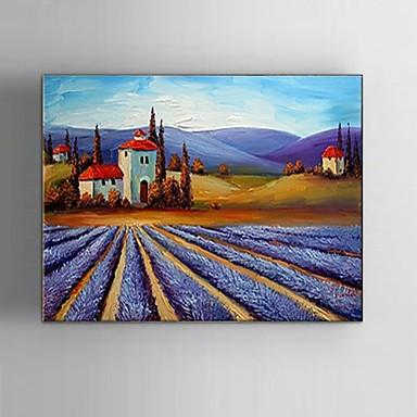 Hånd-malede Landskab / Fantasi / Abstrakt Landskab Oliemalerier,Klassisk / Parfumeret / Europæisk Stil / Moderne Et Panel Canvas