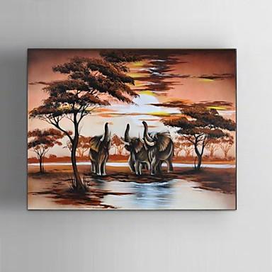 Pintura a Óleo Pintados à mão - Paisagem / Animais / Fantasia Clássico / Pastoril / Modern Tela de pintura