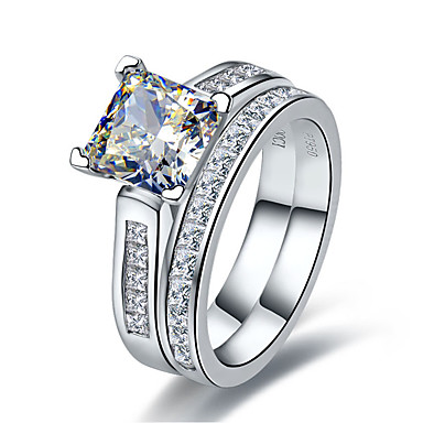 Feminino Anéis Grossos Luxo Fashion Prata de Lei Strass Imitações de Diamante Quadrada Formato Circular Forma Geométrica Jóias Casamento