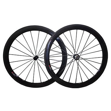 700CC Juego de Ruedas Ciclismo 23mm Bicicleta de Pista Carbono completo Carbón Legierung Ranura de la Llanta 16-32 Radios 50mm