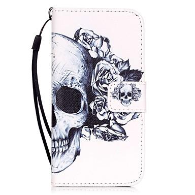 Hülle Für Apple iPhone X / iPhone 8 / iPhone 7 Kreditkartenfächer / Muster Ganzkörper-Gehäuse Totenkopf Motiv Hart PU-Leder für iPhone X / iPhone 8 Plus / iPhone 8