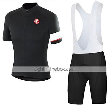 KEIYUEM Kort Ærme Cykeltrøje og shorts med seler Unisex Cykel Tøjsæt/JakkesætÅndbart Hurtigtørrende Støv-sikker Påførelig Strækbart
