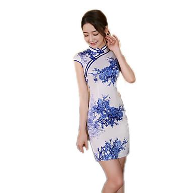 Tradisjonell Dame Kjoler A-Line Dress Blyantkjole Cosplay Blomstret Kortermet Medium Lengde