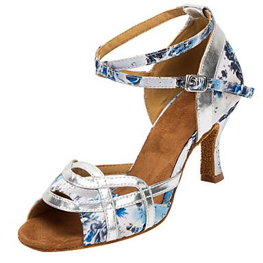 Damen Schuhe für den lateinamerikanischen Tanz / Salsa Tanzschuhe Satin Sandalen / Absätze Schnalle / Blume Maßgefertigter Absatz / Innen