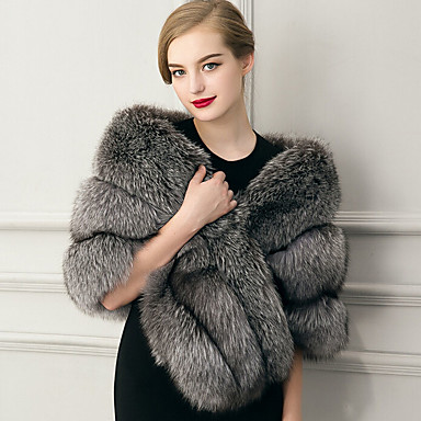 Sleeveless Faux Fur Wedding Party Evening Casual Women's Wrap With Feathers / Fur Capelets