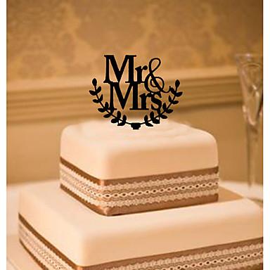 Decorações de Bolo Tema Clássico Monograma Acrílico Casamento com Flor 1 Caixa de Ofertas