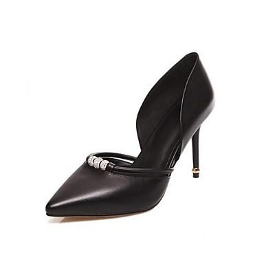 Feminino Sapatos Couro Verão Saltos Salto Agulha Cristais para Preto Prata