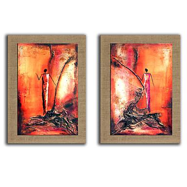 Handgeschilderde Mensen Fantasie Verticaal, Modern Kangas Hang-geschilderd olieverfschilderij Huisdecoratie Twee panelen
