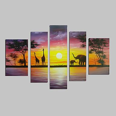 tuval üzerine 5pcs el-boyalı, modern soyut fil zürafa günbatımı Afrika manzara yağlıboya / hayır çerçeve set