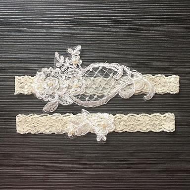 Blondelukning Stræksatin Bryllup Garter - Imitationsperler Blomst