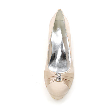 Invalide mariage Femme Talon Escarpin Printemps 06457961 Bout Invalide de Bleu Aiguille Chaussures rond Strass Eté Basique Chaussures Satin qxSzxwU
