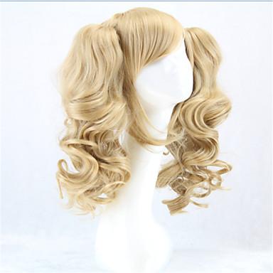 billige Kostymeparykk-Syntetiske parykker Kostymeparykker Krøllet Stil Med hestehale Lokkløs Parykk Blond Blond Syntetisk hår Dame Blond Parykk hairjoy