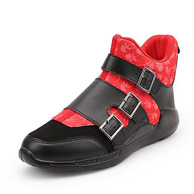 Sneakers-Stof PU-Komfort-Herre-Sort Sort og Rød-Udendørs Fritid Sport-Flad hæl