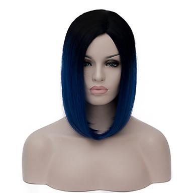 Pelucas sintéticas Pelo sintético Azul Peluca Mujer Corta Sin Tapa Azul Oscuro
