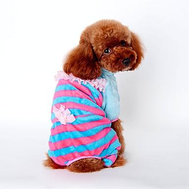 Cachorro Macacão Pijamas Roupas para Cães Riscas Amarelo Azul Rosa claro Veludo Cotelê Ocasiões Especiais Para animais de estimação