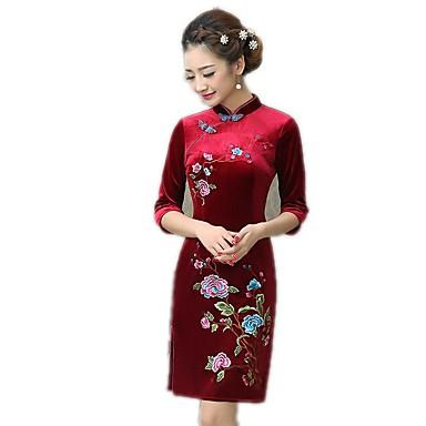 Tradisjonell Dame Kjoler A-Line Dress Blyantkjole Cosplay Lilla Rød Blomstret Medium Lengde