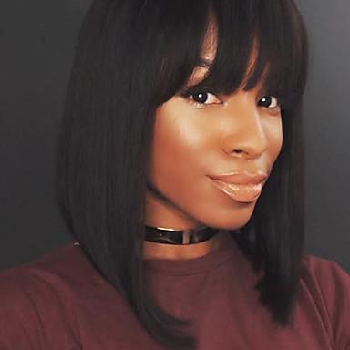 Echthaar Vollspitze Perücke Glatt 100 % von Hand geknüpft Afro-amerikanische Perücke Natürlicher Haaransatz Kurz Medium Dichte Damen
