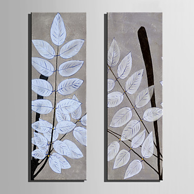 E-HOME® Stretched Canvas Art White Leaves Decoration Painting  Set of 2