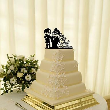 Kagedekorationer Klassisk Tema Klassisk Par Akryl Bryllup med Blomst 1 Gaveæske