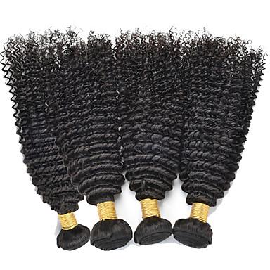 Echt haar Peruaans haar Menselijk haar weeft Kinky Curly Gekrulde haarextension Haarextensions 4-delig Zwart