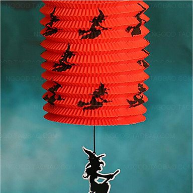 halloween poster jack skelet bærbare farverige græskar folde papir lanterne lampe serie farve tilfældige 5 * 15