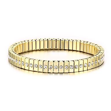 Herrn Ketten- & Glieder-Armbänder - Edelstahl, Strass, vergoldet Golden / Diamantimitate